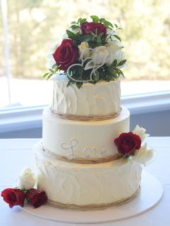 Buttercream textured wedding cake